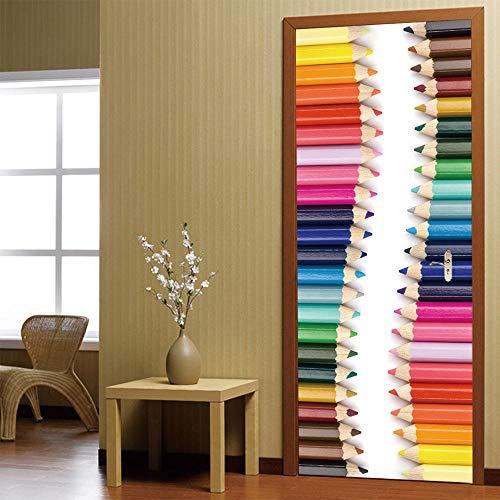 MSSDEBZ 3D Deur Stickers Mural Muursticker Zelfklevende Home Decoratieve Pak voor Staal Papier Regenboog Potlood Decal PVC Waterdichte Kunst Woonkamer Print 90x200CM /36 X 80 Inch