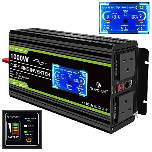 Novopal 1000W Pure Sine Wave Inverter 24V to 230V 240V Car Converter Power Inverter with LCD Display...