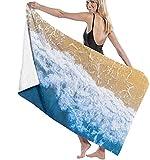 Toalla De Playa,Toalla De Playa Cuadrada Multifuncional Waves and Beach Manta De Playa Extragrande para Adultos Y Niños Súper Suave Y Absorbente Rápido