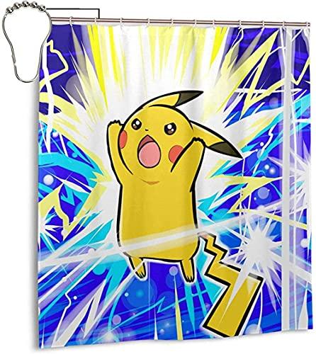 Duschvorhang für Wohnheim BadezimmerdekorationJapanischer Anime Pika-chu SchnelltrocknendesBadevorhang-SetWasserdicht Polyestergewebe Duschvorhang mit Ring 66x72 in