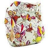 Happy Cherry Couches Lavables Bébés Filles Garçons Anti-Fuite Imperméable Culotte d'Apprentissage Récupérable Bouton Réglable Papillon (Sans Insert) pour 3-11Kg Vert