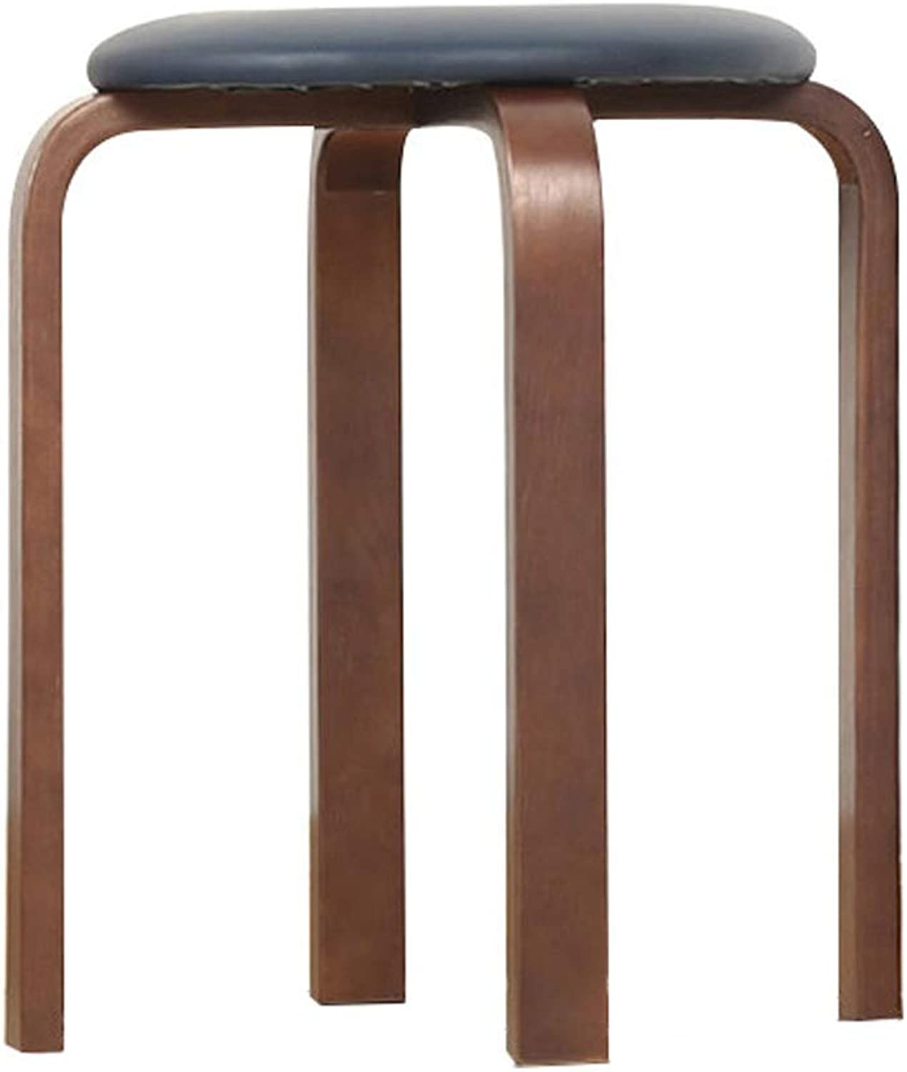 Lxn Modern Simplicity Solid Wood Stool, Home Dining Stool, Fashion Makeup Stool Dressing Stool,PVC Waterproof Cushion - Stackable - 1PCS