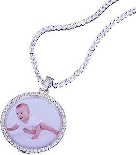 KMASAL Jewelry - Medaglioni personalizzati personalizzati con foto e ciondolo in argento 18 carati con zircone cubico hip ...