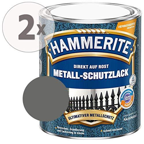Hammerite Metall Schutzlack Hammerschlag-Effekt Rostschutz dunkelgrau Sparpaket, 2 x 750ml