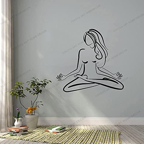 Zdklfm69 Adhesivos Pared Pegatinas de Pared Arte Yoga Center Pose calcomanía meditación decoración Pared decoración Cartel extraíble Moderno Adorno de Moda 103x110cm
