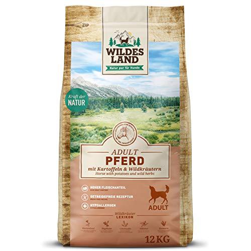 Wildes Land | Trockenfutter für Hunde | Nr. 3 Pferd | 12 kg | mit Kartoffeln und Wildkräutern | Glutenfrei & Hypoallergen | Extra viel Fleisch | Alle Hunderassen | Beste Akzeptanz und Verträglichkeit