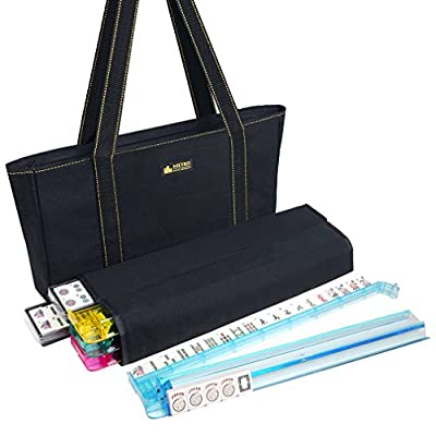 American Mah Jongg Set - 166 Premium Ivory Tiles, 4 All-In-One Rack/Pushers, Black Canvas Bag from American-Wholesaler Inc.