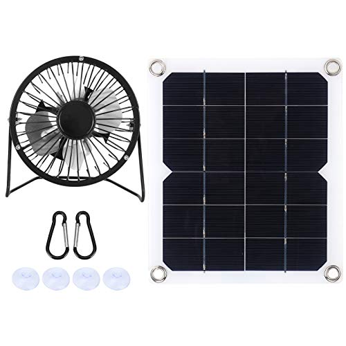 Oreilet 10W Solar Panel Powered Fan, RVs Outdoor Breeding Solar Powered Fan Ventilator, Waterproof Solar Energy Cooling Fan with 4 x Suction Cup, Photovoltaic Solar Panel for Chicken Pet House