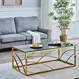 Modern Coffee Table Rectangle End Table Tempered Glass Top Living Room Reception Room Office (Gold-B)