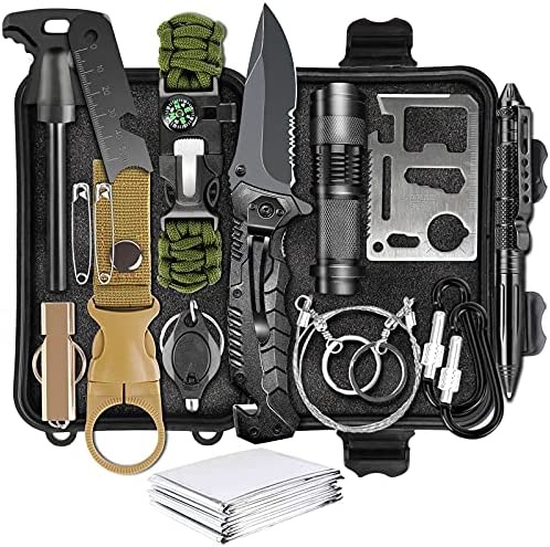 Survival Gear Kit, LC-dolida Survival Kit 54 in 1 Emergency Survival Gear and Equipment Christmas Birthday Gifts for Men Dad Husband Boyfriend Perfect for Camping Fishing Hunting Hiking Adventures