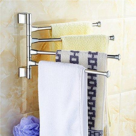 Handy 180 Degree 4 Arm Stainless Steel Towel Bar Rotating Towel Rack Bathroom Kitchen Towel Polished Holder