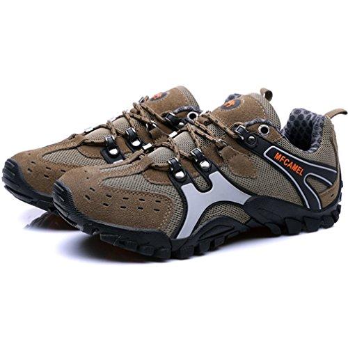 Outdoor Bergsteigen Schuhe Casual Sport Herren Wanderschuhe Schnürschuhe zum Klettern Berg rutschfest und tragbar braun, 43 Uniquelove