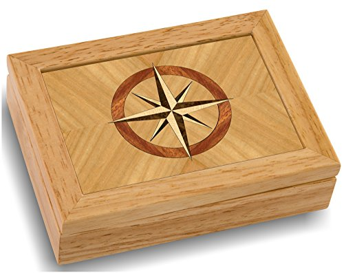 MarqART Wood Art Compass Box - Handmade USA - Unmatched Quality - Unique, No Two are The Same - Original Work of Wood Art (#4858 Compass Rose 4x5x1.5)