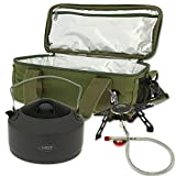 DNA Carp Fishing & Camping Cooler Insulated Brew Kit Carryall Bag With Gas Stove & Kettle Set