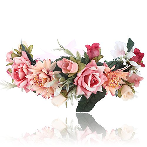 AWAYTR Bohemia Big Lilies Floral Crown Party Wedding Hair Wreaths Hair Bands Flower Headband (Peach beige)