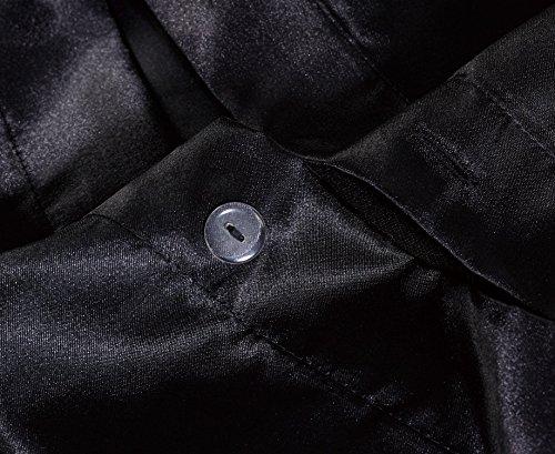 Chezmoi Collection 3-Piece Silky Bridal Satin Duvet Set King, Black