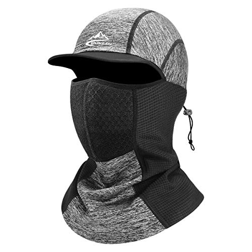 Winter Neck Gaiter NoveltySports Hat with Moisture Wicking Headband-Neck Warmer Face Mask Bandanas Ear Warmer All in one with PM2.5 Filter Gray