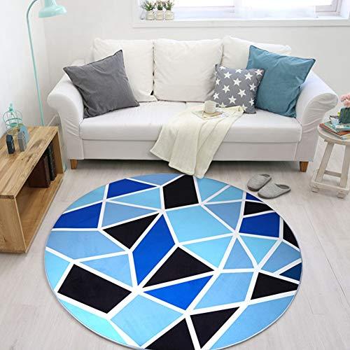 SODKK Teppich rund 100cm Rund Schaffell Bettvorleger Pflegeleicht 8 Rug Grippers Rutschfester Teppichunterlage für Wohnzimmer, Schlafzimmmer, Kinderzimmer, Esszimme Blaue Geometrie