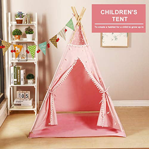 Vanimeu Kids Pink Teepee Tent with Floor Mat Lights Bunting Pillow for Girls Wigwam Indoor Outdoor Play House Kids Birthday Gift (Pink)