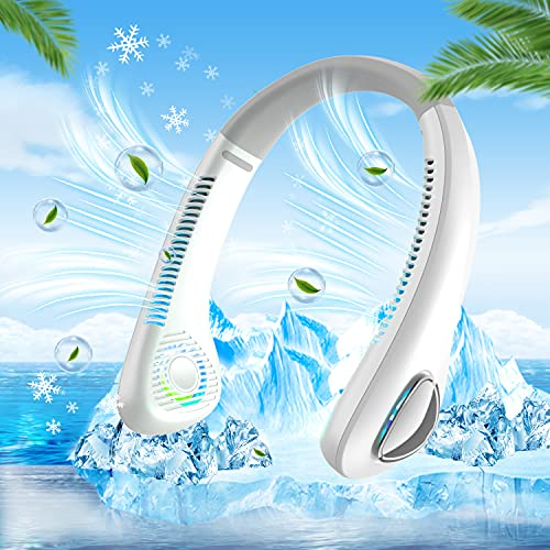 2021年最新設計 首掛け扇風機 羽根なし くびかけ扇風機 ネッククーラー ハンズフリー 携帯扇風機 USB充電式 3段階風量 4000mAh超大容量 軽量 静音 長時間連続使用 旅行/自宅/オフィス用/通学/運動/ショッピングなど適用 (ホワイト)