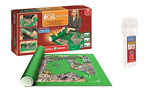 Outletdelocio. Pack Puzzle Roll 2000. Tapete Universal para Transportar/Guardar Puzzles hasta 2000 Piezas + Pegamento Puzzles