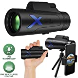 JZBRAIN HD Monocular Telescope 12X50 High Power IPX7 Waterproof FMC BAK4 Prism with Tripod&Smartphone Adapter for Wildlife Bird Watching Hunting Camping Travelling Wildlife Secenery