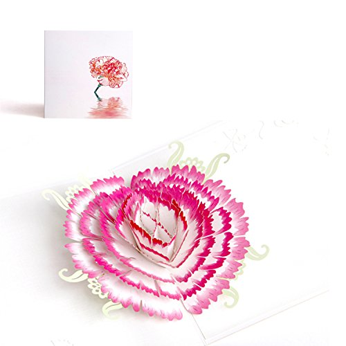 3D Pop Up I Love Mom Handmade Luck Best Wish Greeting Card Kirigami Paper Craft (Pink Flower)