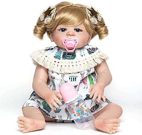 DFGBXCAW 55 Cm de Silicona Reborn Baby Doll Realista Chica Ojos acrílicos Bebés Muñecas Realista Niños Juguete Niños Regalo de cumpleaños