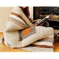 Warm Wool Throw Blanket Brown Grey Plaid Indoor Outdoor Sofa Bed Cover Handmade Hand Woven Decorative Home Decor