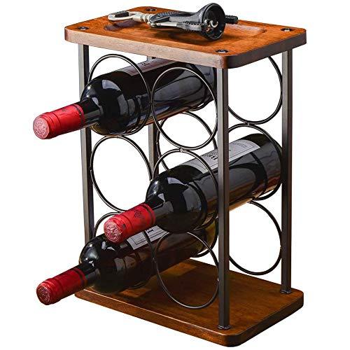 OUYA Madera Botelleros Vino 6 Botellas, Organizador Soporte para Botellas De Pie, Almacenamiento De Botellas De Vino - Estante para Vino De Mesa Estante para Vino Solamente