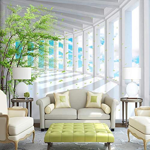 3D Stereoscopic Space Blue Sky Forest Wandbild Tapete Benutzerdefinierte moderne Wohnzimmer TV Hintergrundwand 3D-Effekt Foto Wallpaper