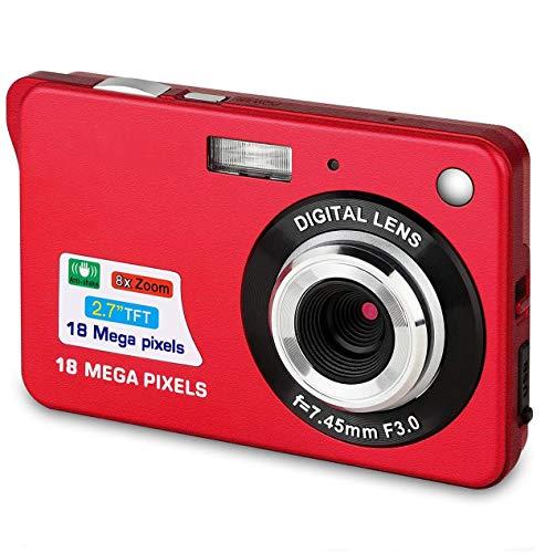 Bosszi Digitalkamera für Kinder, Kompakte Digitale Videokamera 18 Megapixel Wiederaufladbare Kamera Digital mit 2.7 Zoll 1280×720 HD LCD Bildschirm für Studenten/Senioren/Kinder (Rot)