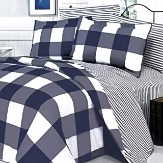 Blancho Bedding - [Navy & White] 100% Cotton 3PC Comforter Cover/Duvet Cover Combo (Twin Size)
