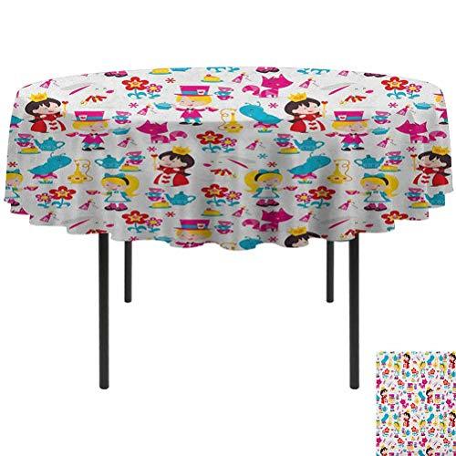 ScottDecor Nursery Beach Round Tablecloth Cute Cartoon Style Queen Rabbit Yellow Haired Girl Flowers Slug Tea Cups Stacked Multicolor Diameter 70'