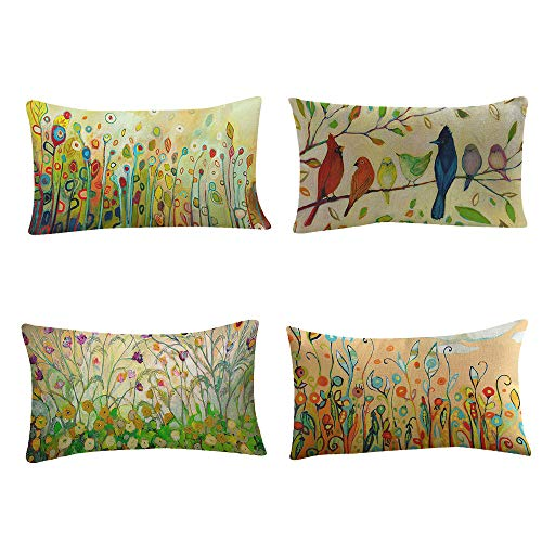 Kissen Kissenbezüge Bedrucken Sofa Bed Dekorative Kissenhülle in Verschiedene Muster 30x50 cm, Grün Serie (4pc/Set)