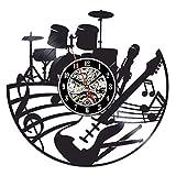 LKJHGU Instrumentos Musicales Disco de Vinilo Reloj de Pared Sala de Estar diseño Moderno Disco de Vinilo Retro Reloj de Pared Reloj de Pared músico Elemento de Estilo Moderno