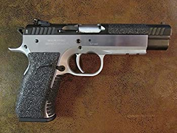 Sand-Paper-Pistol-Grips   Brand  - Black Textured Rubber Peel and Stick Grip Enhancements for The EAA Tanfoglio Witness Elite Match fits calibers  9mm 10mm.40Caliber.38 Super and .45 ACP