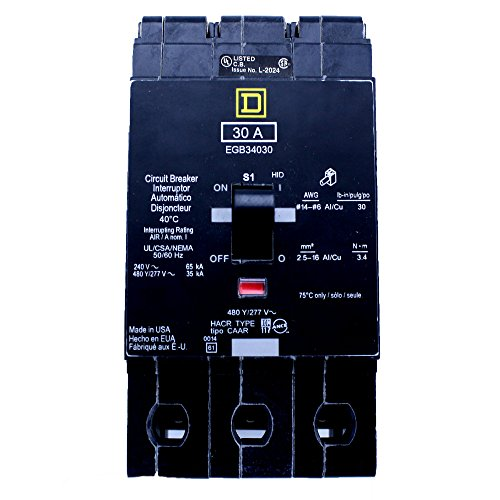 Square D EGB34030 3 POLE 30 AMP 480Y/277V 35KA Thermal Magnetic Circuit Breaker