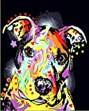 YUHHGFK Pintar por Numeros Adultos Perro de Color Pintura al óleo de DIY por Números con Pinceles y Pinturas para Adultos y Niños Decoraciones para el Hogar- 40 x 50 cm (con Marco de Madera)