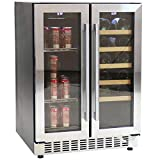 Sunnydaze Beverage and Wine Cooler Dual Zone Side-by-Side Refrigerator with Independent Temperature Control and LED Light - 20-Bottle and 63-Can Capacity