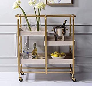 Bellemave Serving Cart with Storage Shelf, Kitchen Island Cart, Rolling Cart with Handles Suitable for Kitchen and Bar.