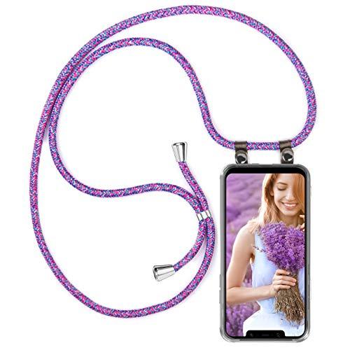 moex Handykette kompatibel mit Xiaomi Pocophone F1 Hülle mit Band Längenverstellbar, Handyhülle zum Umhängen, Silikon Hülle Transparent mit Kordel Schnur abnehmbar in Lila Pink