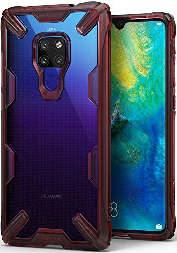 Ringke Fusion-X Designed for Huawei Mate 20 Case Cover Clear Dot PC Back with Rugged TPU Bumper Anti Rainbow Effect (Straps Access Design) for Huawei Mate 20 - Ruby Red