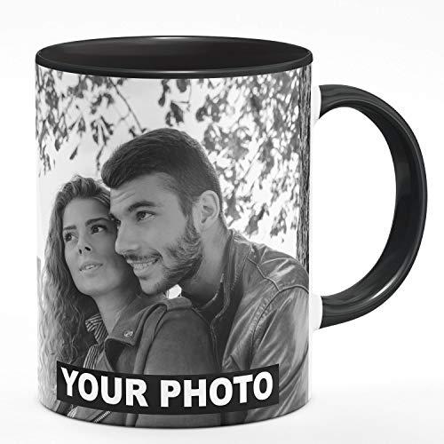 Fototasse Tasse mit eigenem Foto & Text Tassendruck personalisiert Geschenk Schwarze Tasse mit Schwarz-Weiß Foto [117]