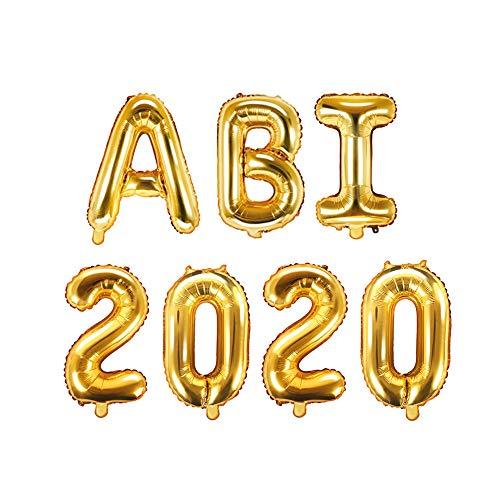 XXL Folien-Ballons ABI 2020 gold Buchstaben-Balloon-Girlande Luft-Ballons Schriftzug Höhe 35cm Abitur Schul-Abschluss Abi-Party Feier Schul-Ende Gymansium Matura Diplom Reife-Prüfung Raum-Deko-ration