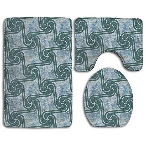 Texturierte Fliesen in Blaugrün, 3-teilig, weicher Komfort-Flanell-Badezimmerteppich, rutschfest, saugfähig