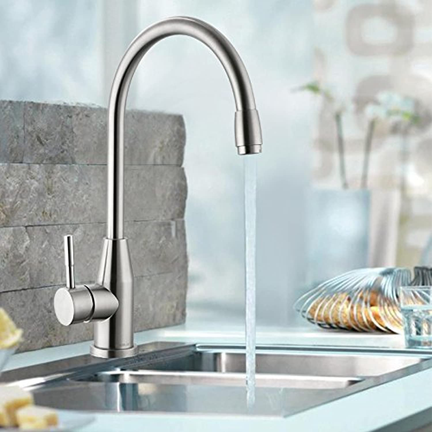 AOLOR Wash Basin Stainless Steel hot and Cold Modern Taps Kitchen Brass Faucet Bathroom Sink Waterfall Tap Mixer Water Washroom Bath Tub Shower