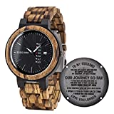 BOBO BIRD Mens Engraved Wood Watch for Men Boyfriend Husband Him As Personalized Anniversary Christmas Birthday Father Day Wooden Gifts Idea with Wood Box (Black-FH)