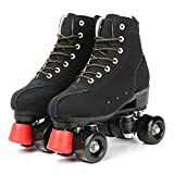 Roller Skates for Women and Mens, Classic High-top 4 Wheels Skating Roller Double Row Skates for Indoor and Outdoor Unisex, Boys and Girls with Bag (38)