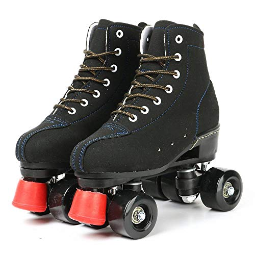Risup Roller Skates for Women and Mens, Classic High-top 4 Wheels Skating Roller Double Row Skates for Indoor and Outdoor Unisex, Boys and Girls with Bag (44)